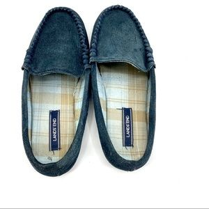Lands End suede flannel lined slipper mules 8.5